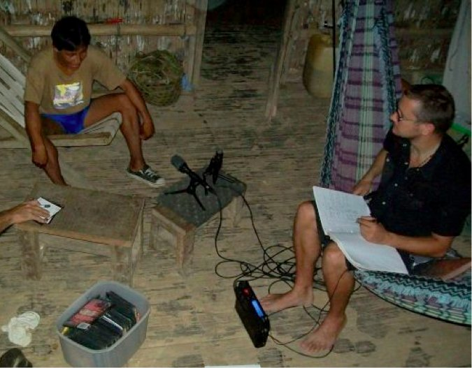 Figure: fieldwork: Rob recording the Matses language in the Peruvian Amazon in 2008.